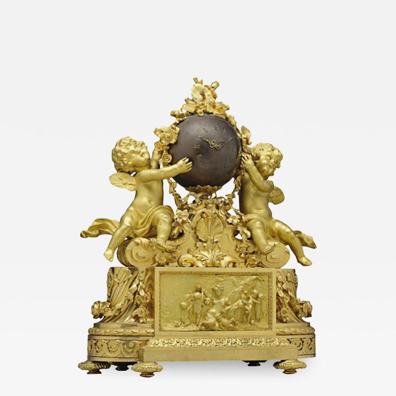 Maison Deni re A Napoleon III Ormolu and Patinated Bronze Figural Mantel Clock by Deniere