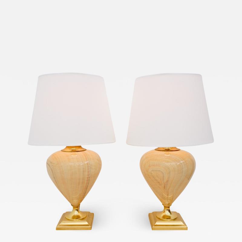 Maison Le Dauphin Pair of Elegant Table Lamps by Maison Le Dauphin France 1970s
