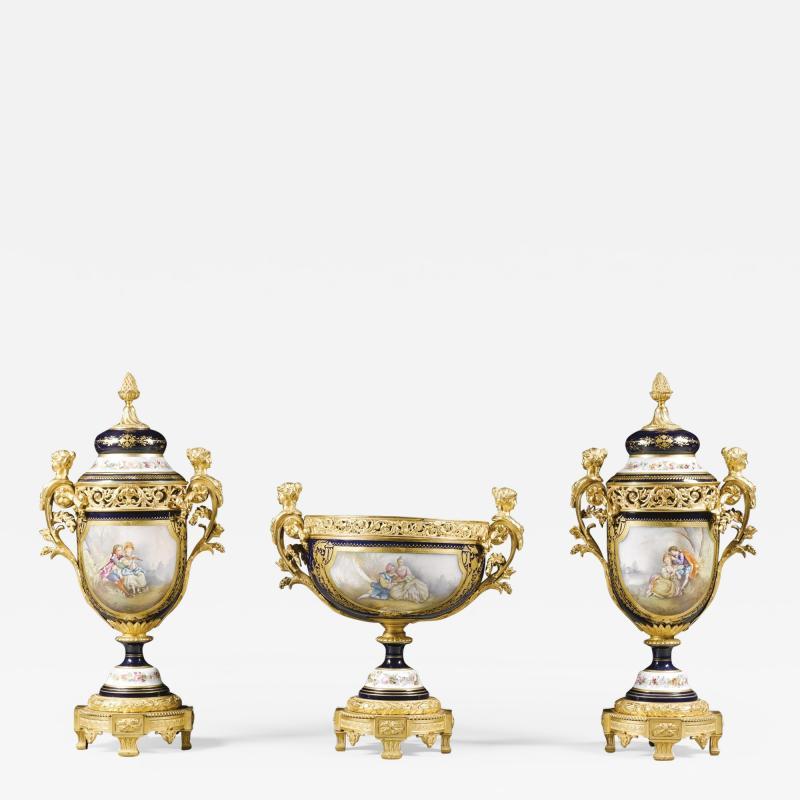 Manufacture Nationale de S vres Sevres Porcelain A Napol on III S vres Style Garniture Set