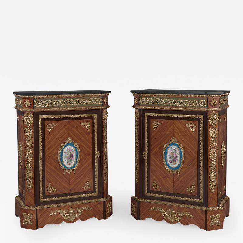 Manufacture Nationale de S vres Sevres Porcelain A Pair of Walnut Side Cabinets