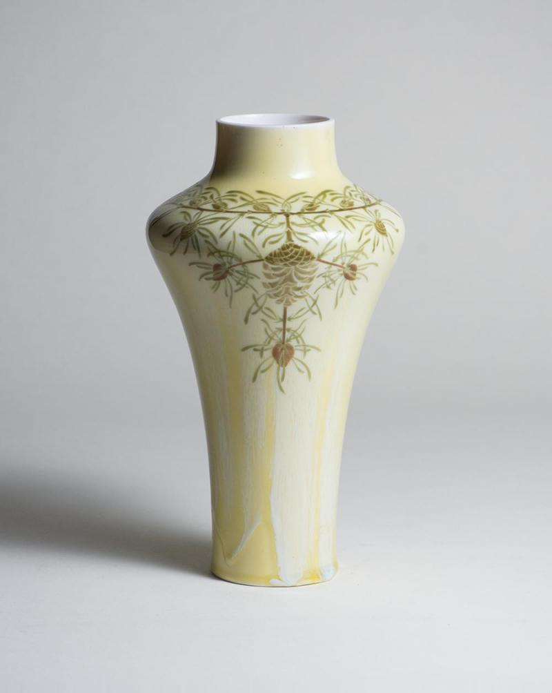 Manufacture Nationale de S vres Sevres Porcelain Porcelain Vase with Pinecone Motif