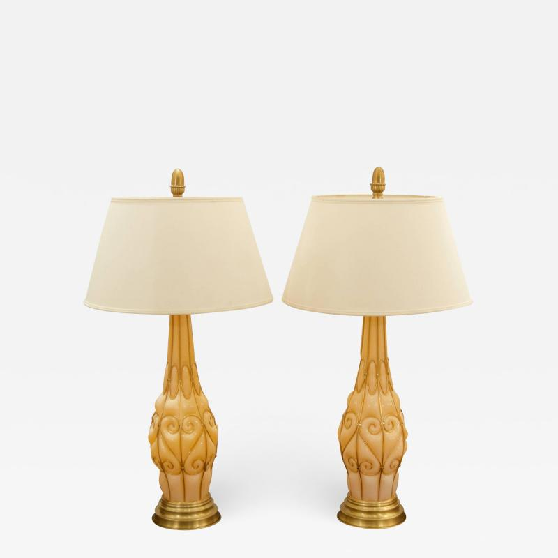 Marbro Lamp Company Large Pair of Coral Tone Murano Lamps with Brass Details by Marbro