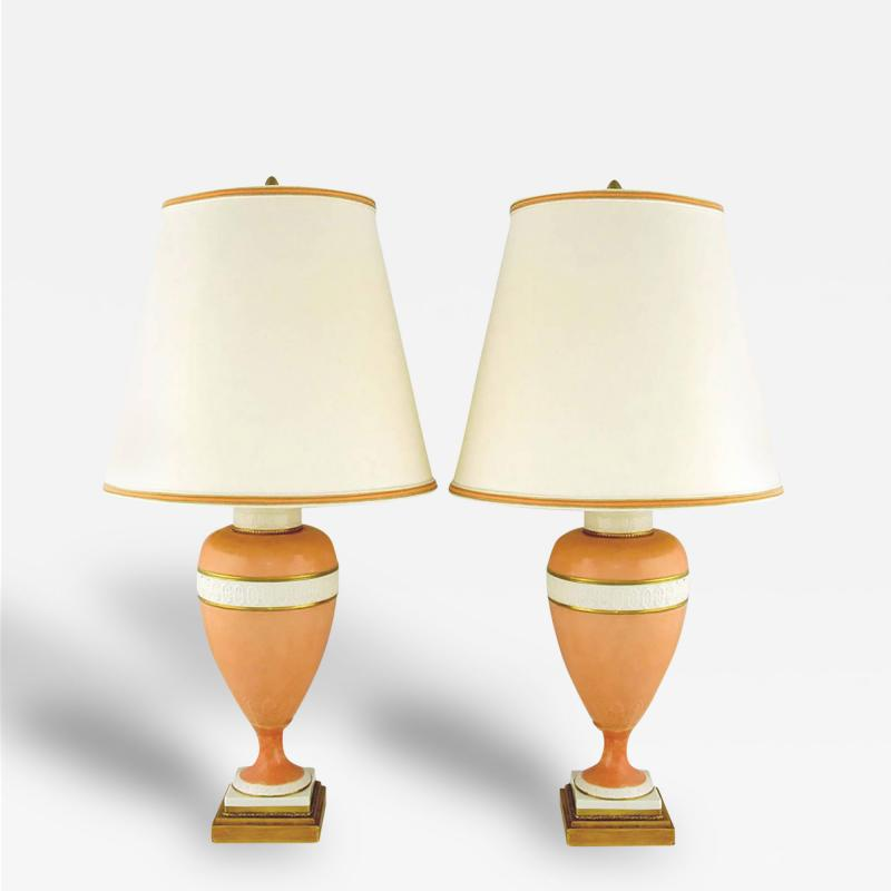 Marbro Lamp Company Pair of Marbro Coral and White Porcelain Neoclassical Lamps
