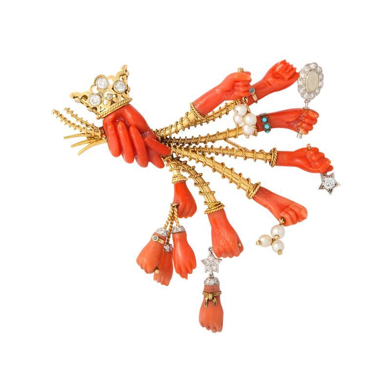 Marchak Surrealist Coral Gem Hand Brooch by Marchack Paris