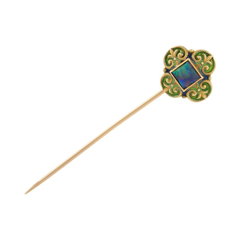 Marcus Co Art Nouveau Opal and Gold Stick Pin