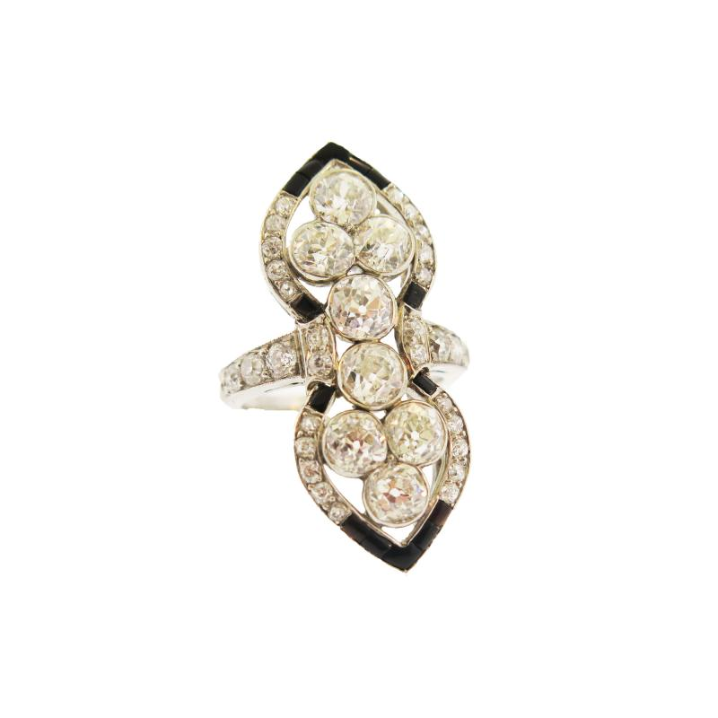 Marcus Co Marcus Co Onyx and Diamond Navette Platinum Ring