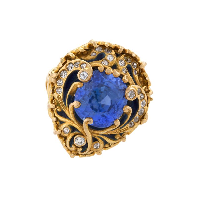 Marcus Co Marcus Company Blue Sapphire Old European Diamond Gold and Enamel Ring