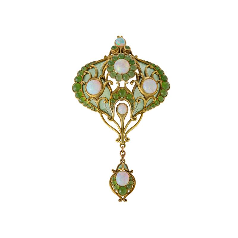 Marcus Co White Opal and Chrysoprase Plique Jour Enamel and Gold Pendant Brooch