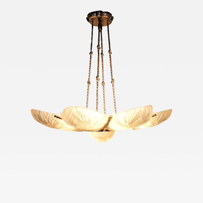 Marius Ernest Sabino Gorgeous Art Deco Chandelier by Sabino