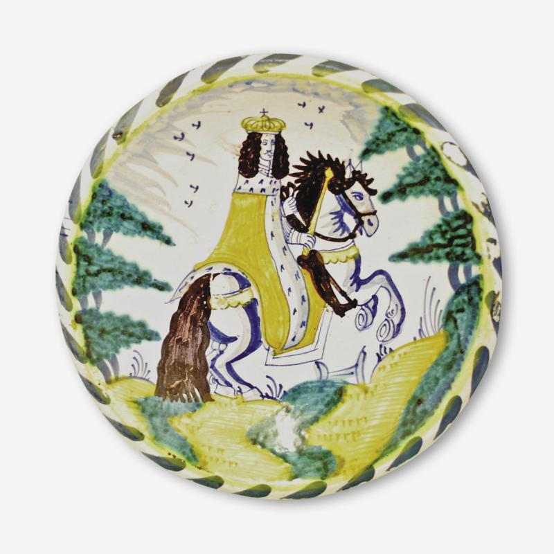 Mark Marjorie Allen Bristol Delft blue dash charger depicting Charles II on a rearing horse