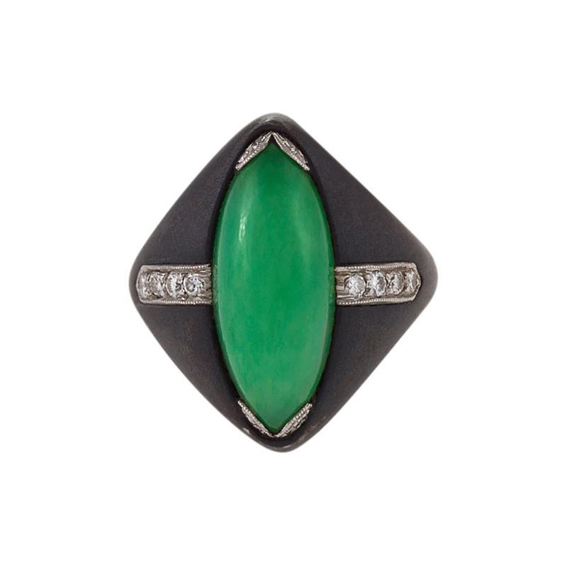 Marsh Co Marsh Co Mid 20th Century Jadeite Jade Diamond Steel and Platinum Ring
