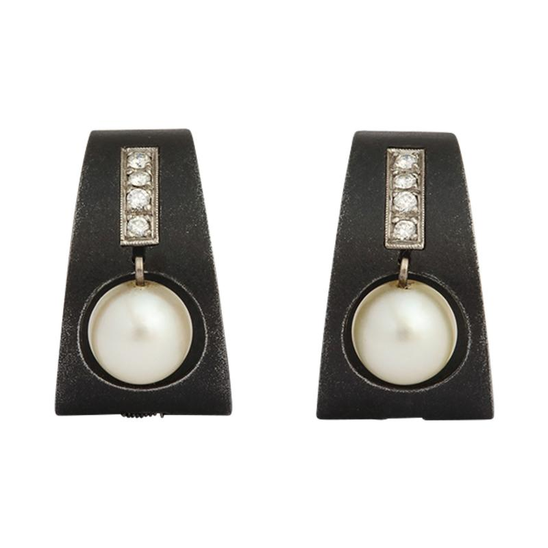Marsh Co Pearl Diamond Earrings in Stainless Steel by Marsh Co