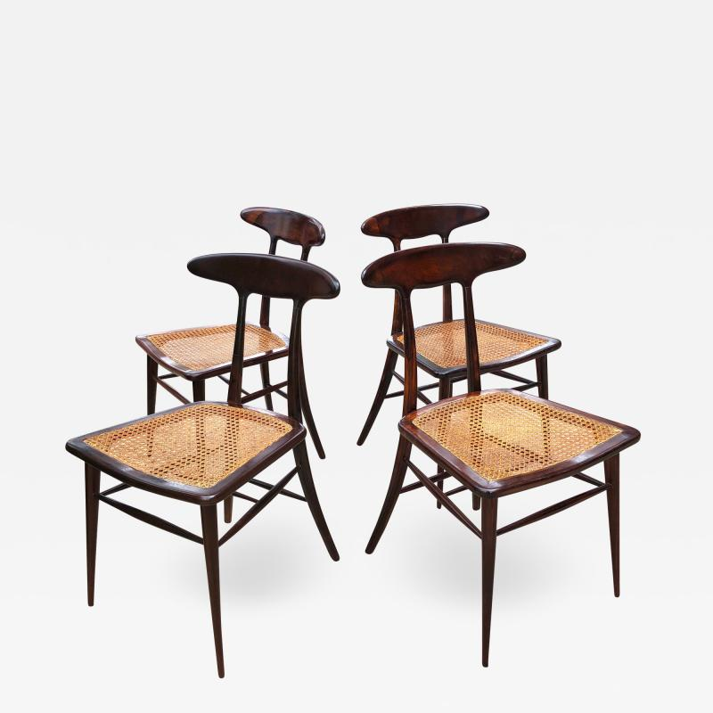 Martin Eisler Carlo Hauner Set of Four Rare Dining Chairs by Martin Eisler and Carlo Hauner for Forma
