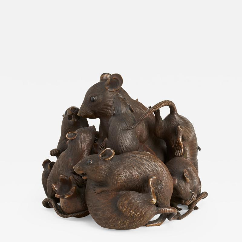 Maruki An antique Japanese bronze of a family of rats