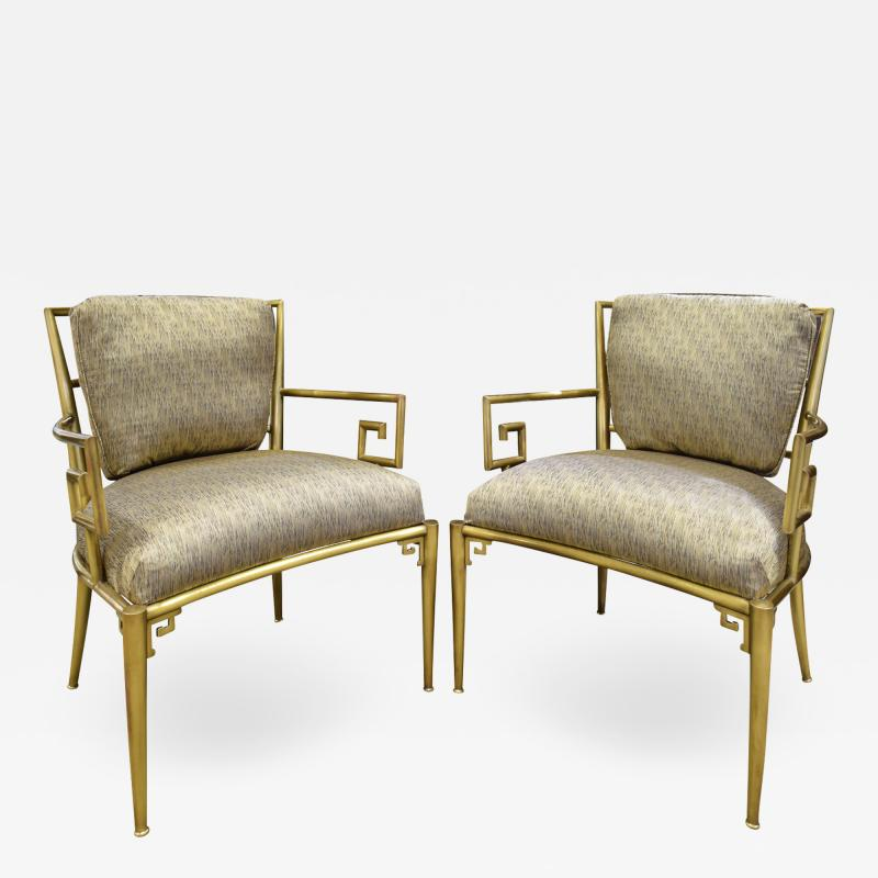 Mastercraft Mastercraft Pair Of Greek Key Lounge Chairs In Brass 1960s