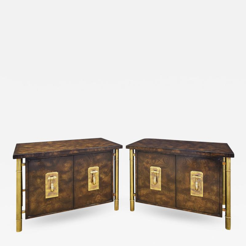 Mastercraft Mastercraft Pair Of Luxurious Bedside Tables In Carpathian Elm And Brass 1960s