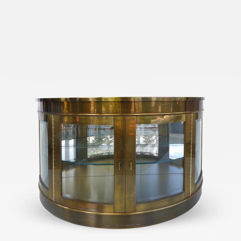 Mastercraft Mid Century Modern Brass Mastercraft Demilune Cabinet With  Beveled Glass