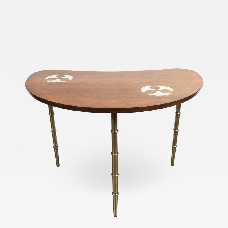Mastercraft Midcentury Organic Inlaid Brass Walnut Bowfront Side End Table by Mastercraft