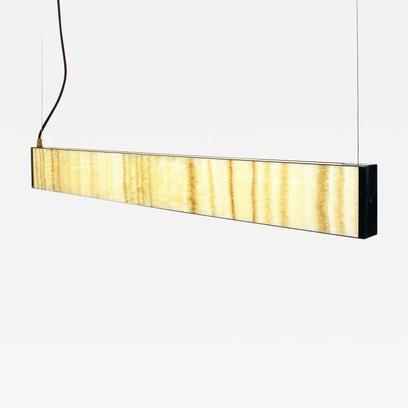 Matlight Milano Bespoke Minimalist Italian Onyx Geometric Linear Satin Brass Pendant Chandelier