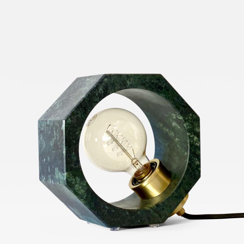 Matlight Milano Contemporary Matlight Essential Octagon Minimalist Table Lamp in Green Marble