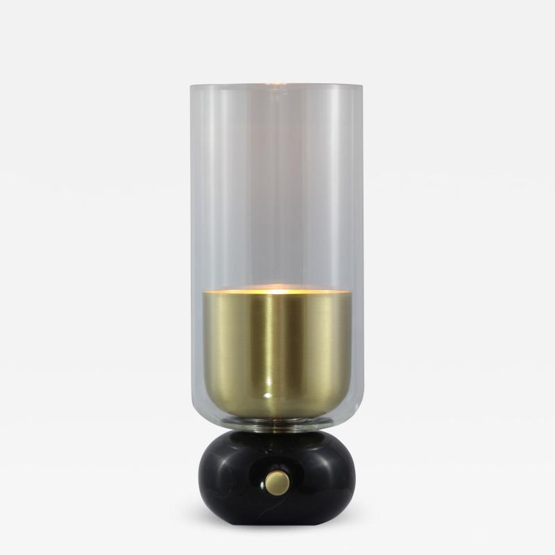 Matlight Milano E Elizarova for Matlight Italian Black Marble Glass and Brass Flute Table Lamp
