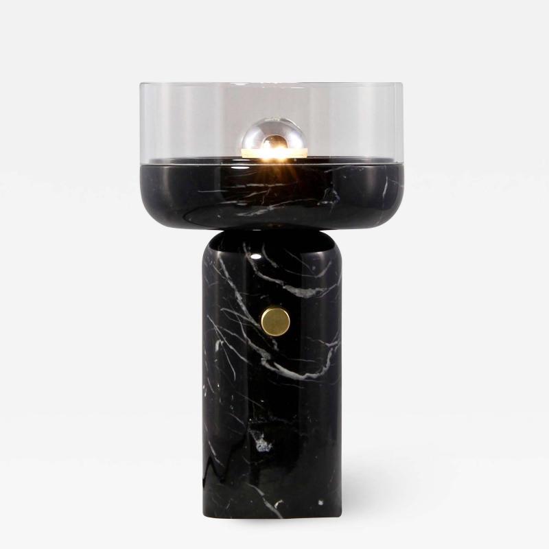 Matlight Milano E Elizarova for Matlight Studio Italian Black Marble and Glass Cup Table Lamp