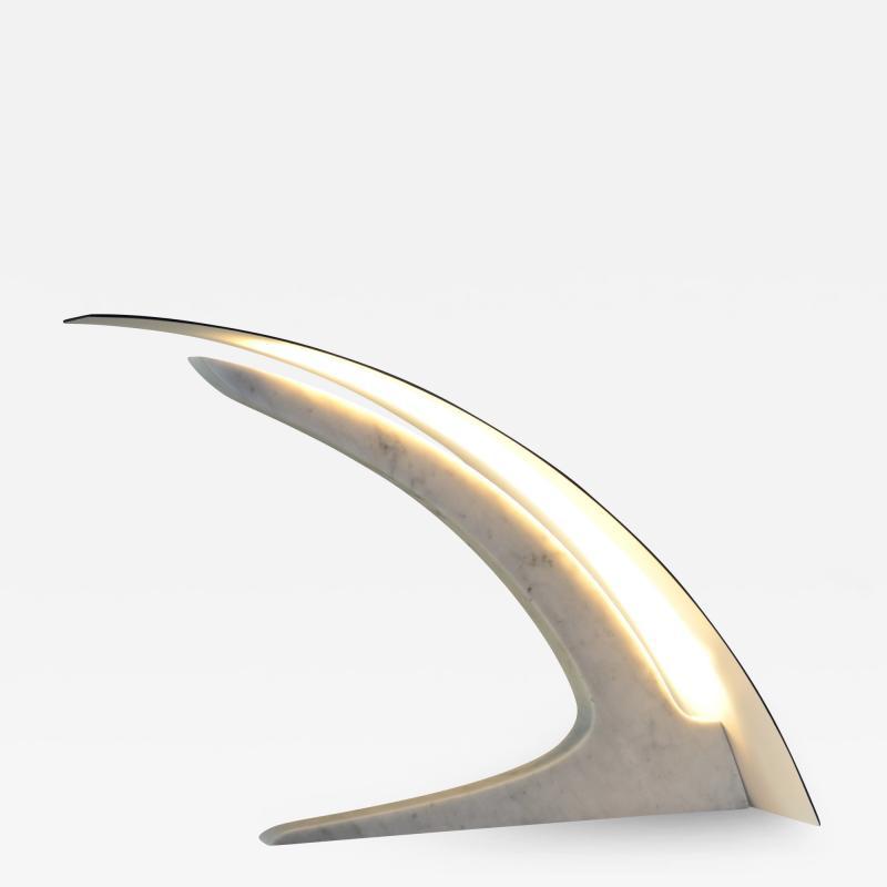 Matlight Milano S Rubertelli for Matlight Italian White Marble and Bronzed Aluminum Table Lamp