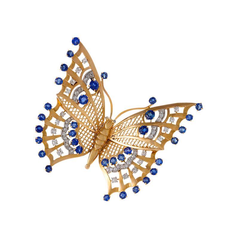 Mauboussin Art Deco Diamond Sapphire and Gold Butterfly Brooch
