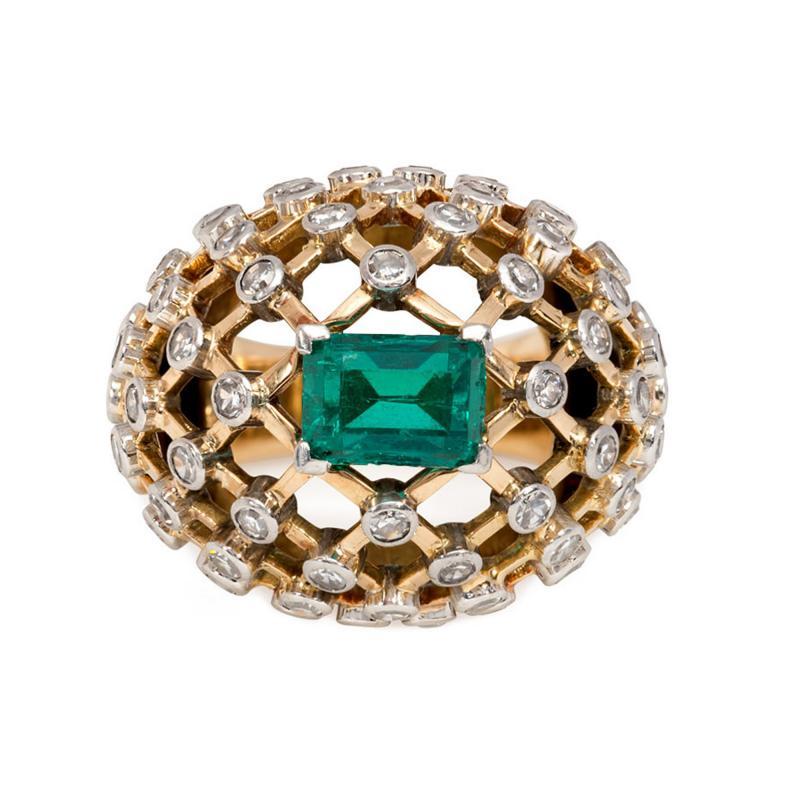 Mauboussin Mauboussin 1960s Gold Emerald and Diamond Bomb Lattice Cocktail Ring