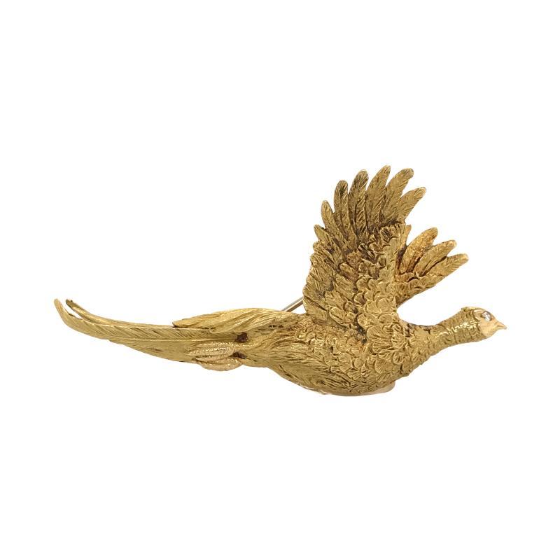 Mauboussin Mauboussin Pheasant Brooch Yellow Gold 18 Carat and Diamond Eye Pin