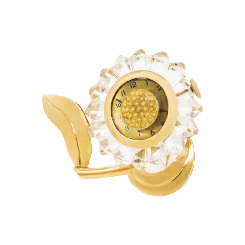 Mauboussin Rare 1950s Mauboussin Hand Carved Rock Crystal Sun Flower Form Lapel Watch