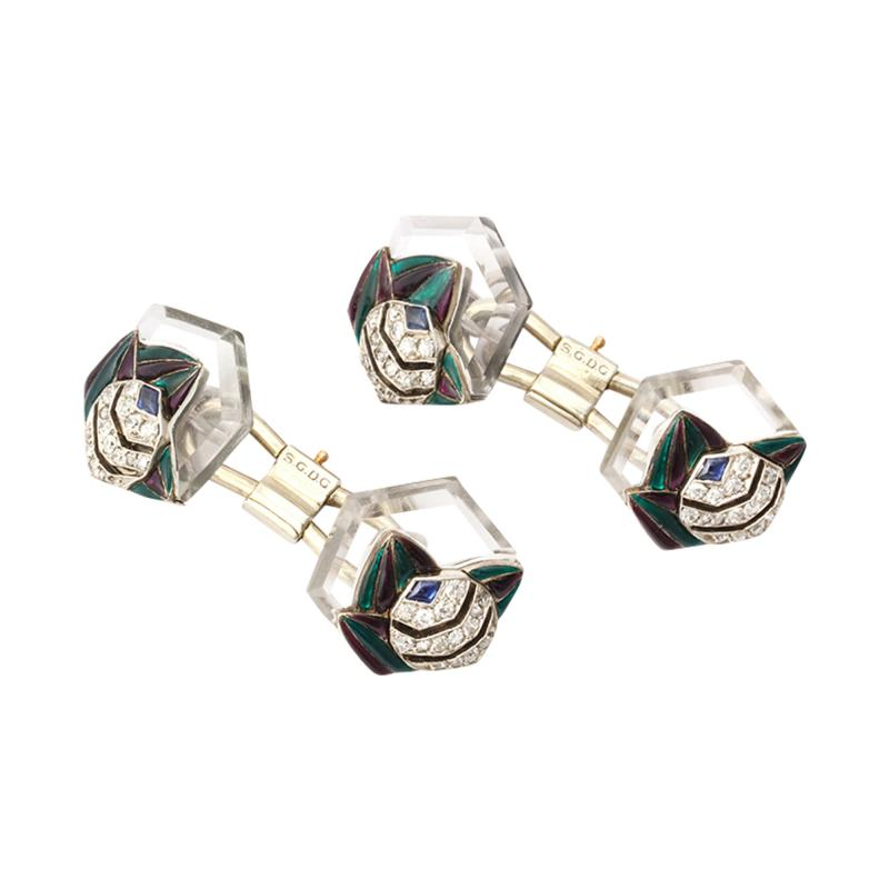 Mauboussin Rock Crystal Enamel Diamond Cufflinks by Mauboussin