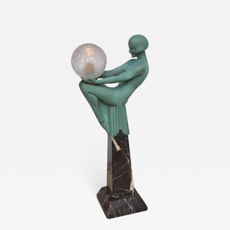 Max Le Verrier Art Deco Figural Female Sculpture Table Lamp Titled Engime by Max Le Verrier
