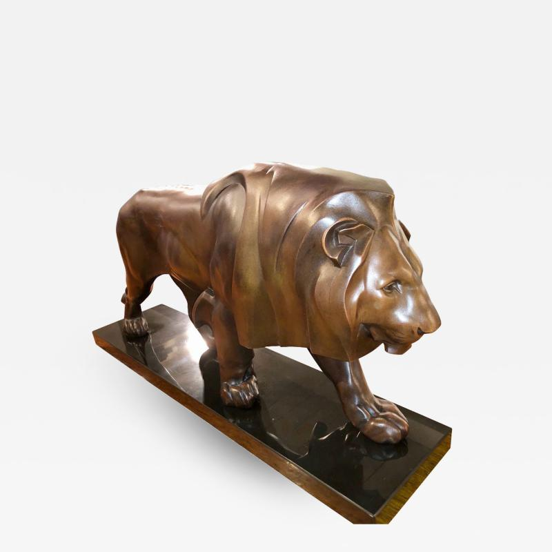 Max Le Verrier French Art Deco Sculpture of a Walking Lion King by Max Le Verrier
