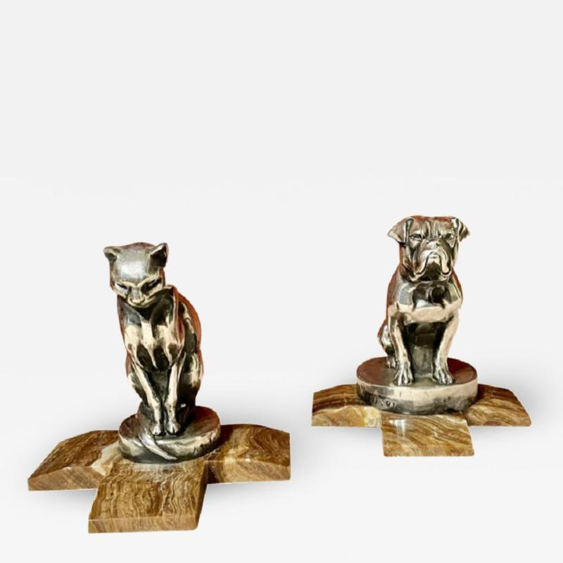 Max Le Verrier Max Le Verrier Bookends Statues of Dog and Cat French Art Deco