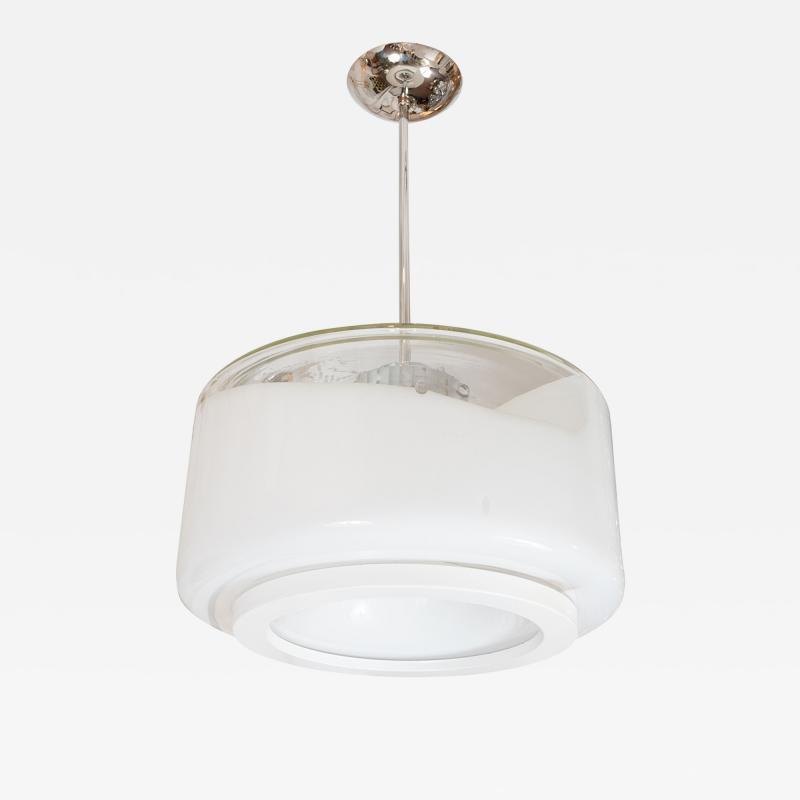 Mazzega Murano CLEAR AND LATTIMO GLASS PENDANT FIXTURE