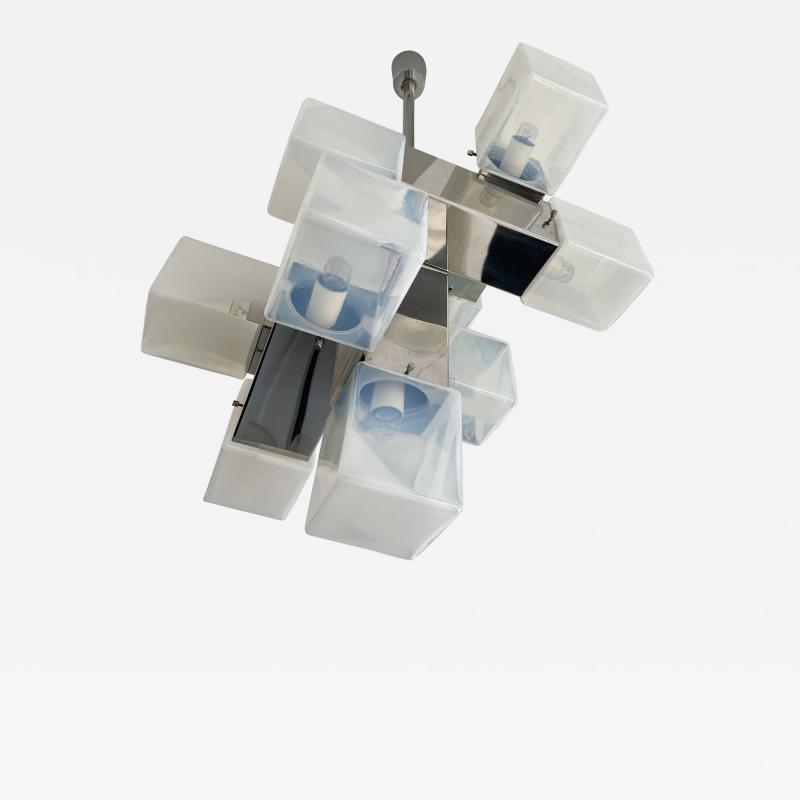 Mazzega Murano Chandelier Murano Glass Cube and Metal by Mazzega Italy 1970s