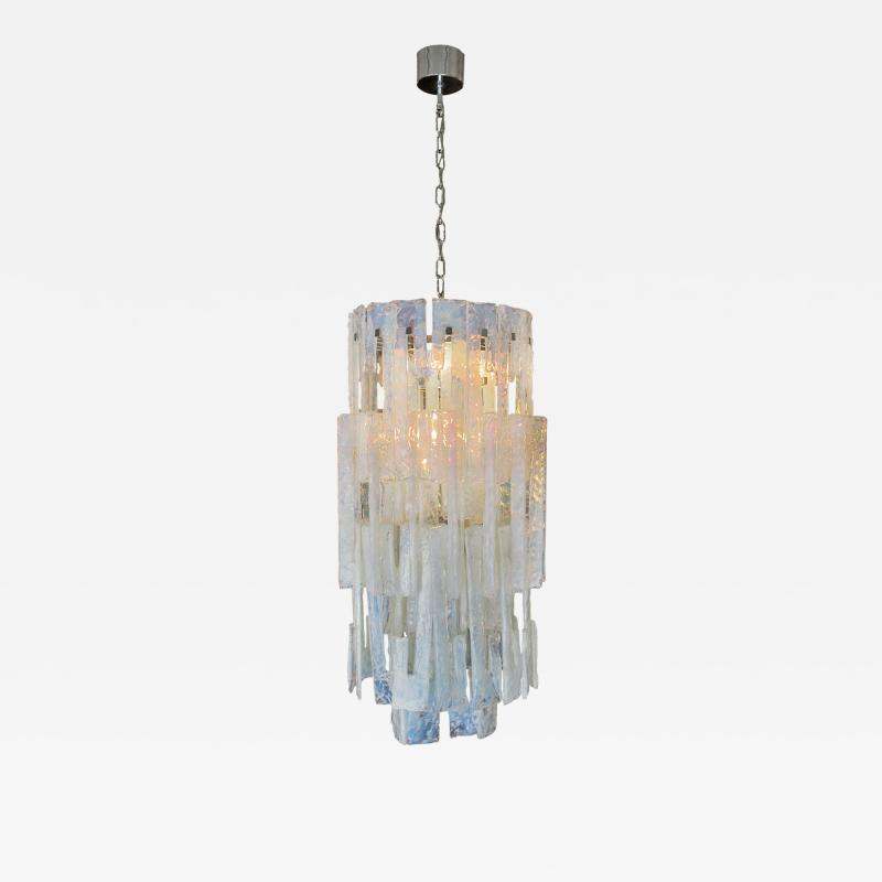 Mazzega Murano Italian Modern Iridescent Hand Blown Glass Chandelier