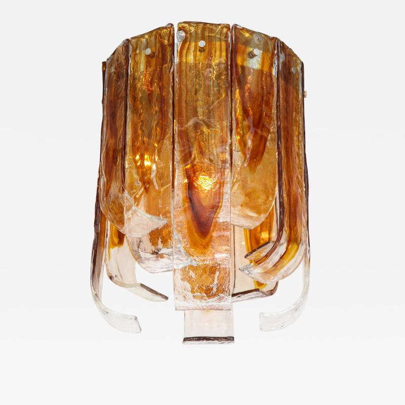 Mazzega Murano Mazzega Clear Amber Flush Mount