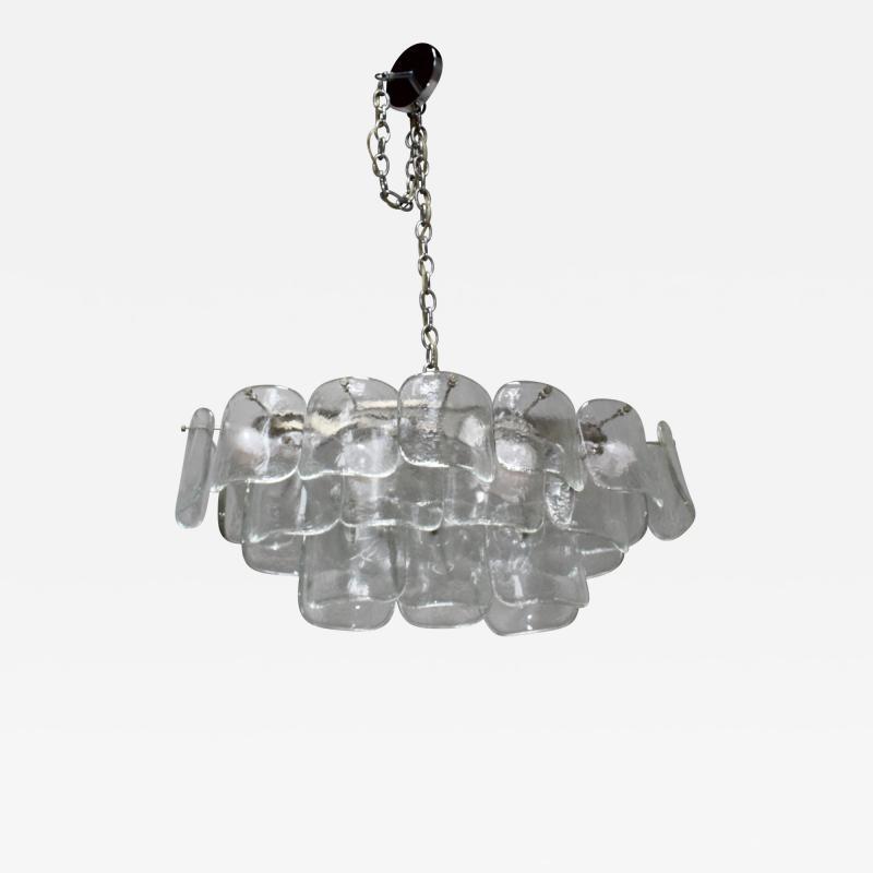 Mazzega Murano Mazzega Clear Glass And Chrome Oval Chandelier