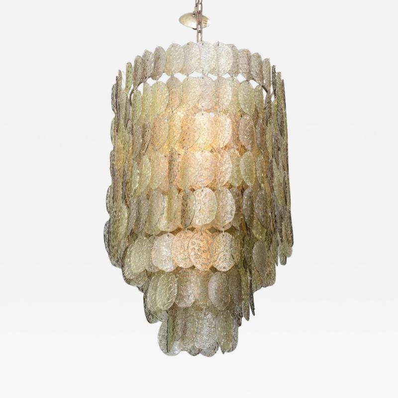 Mazzega Murano Monumental Italian Modern Amber Glass Chandelier by Mazzega
