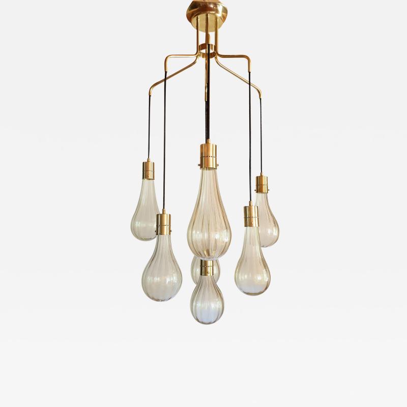 Mazzega Murano Murano glass drop pendants Mid Century Modern chandelier Mazzega style 1970s