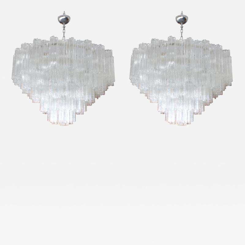 Mazzega Murano Pair of 1970s Tiered Mazzega Chandeliers