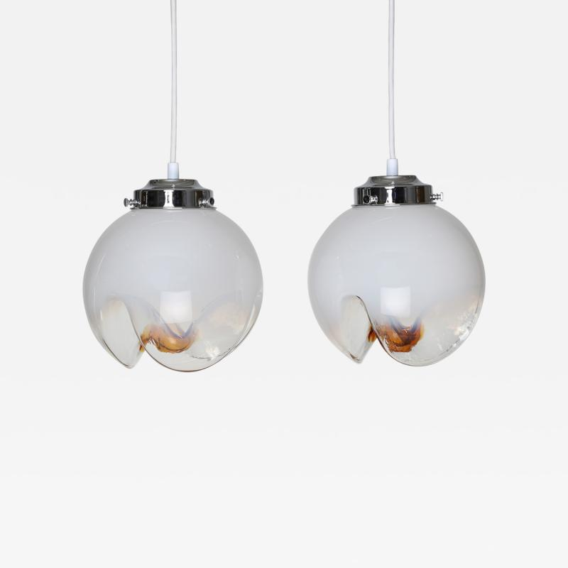 Mazzega Murano Pair of Mazzega White Clear and Orange Glass Pendants