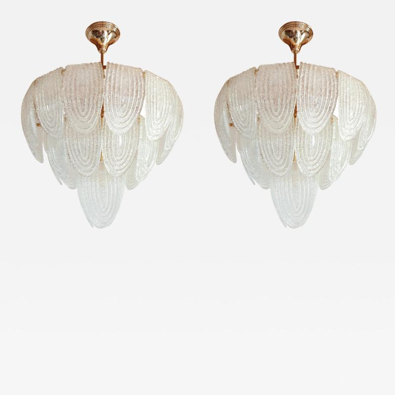 Mazzega Murano Pair of Mid Century Modern Murano Glass and Plated Gold Chandeliers by Mazzega