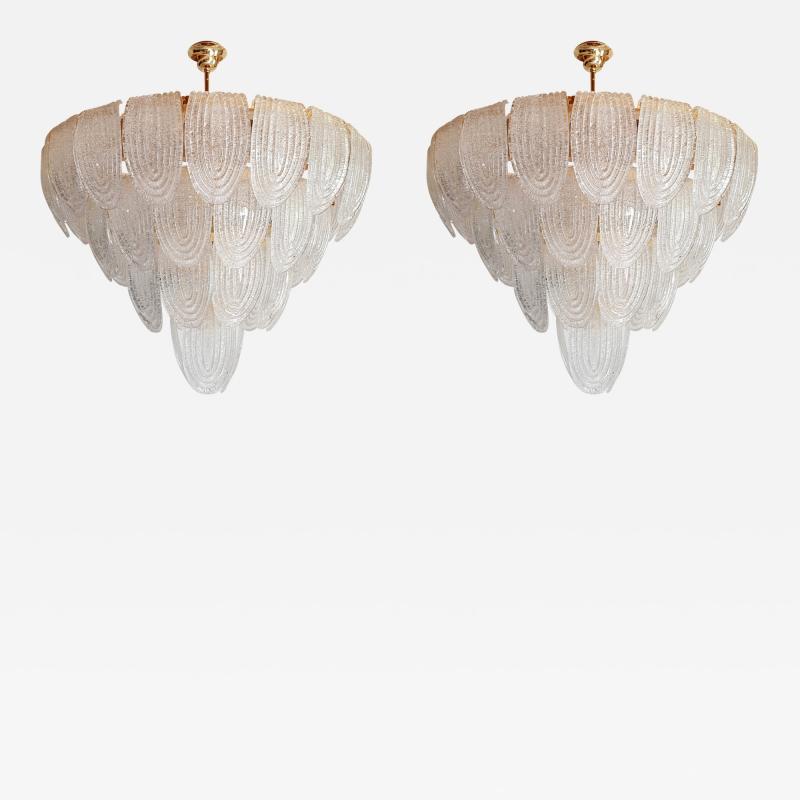 Mazzega Murano Pair of large Mid Century Modern Murano glass chandeliers flushmounts by Mazzega