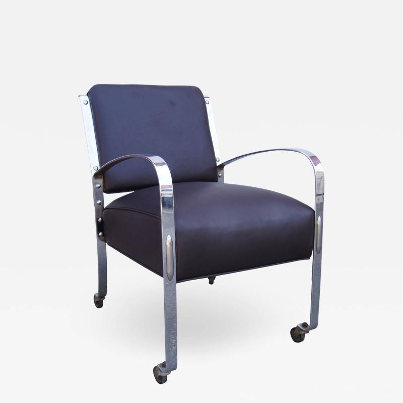 McKay Furniture Corp Chrome and Leather Armchair by McKay Furniture Company