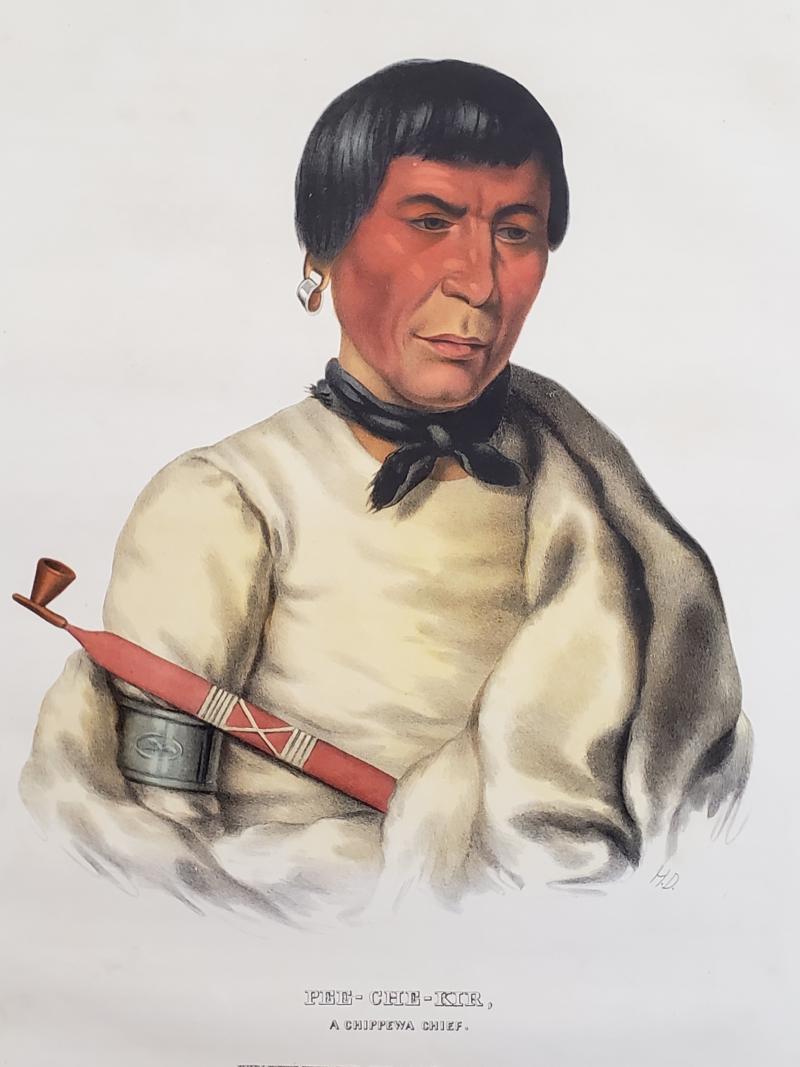 McKenney Hall Buffalo a Chippewa Chief Lithograph Portrait by McKenney Hall