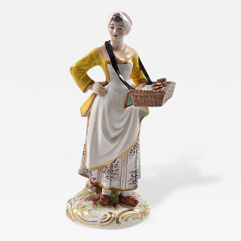Meissen Meissen Porcelain Figurine Girl with a Basket of Baked Pretzels