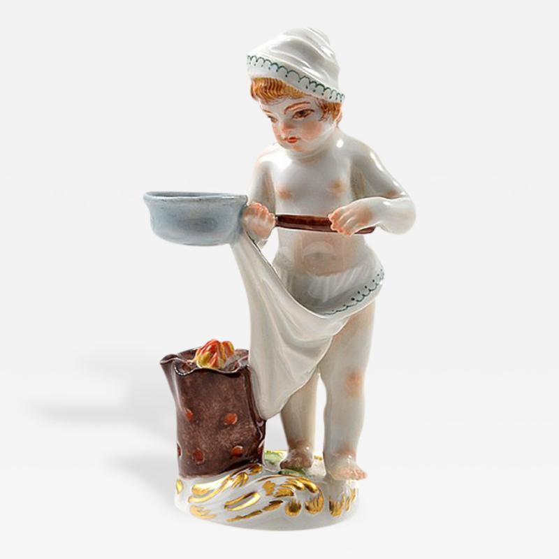 Meissen Meissen Porcelain Figurine of a Cupid as a Cook